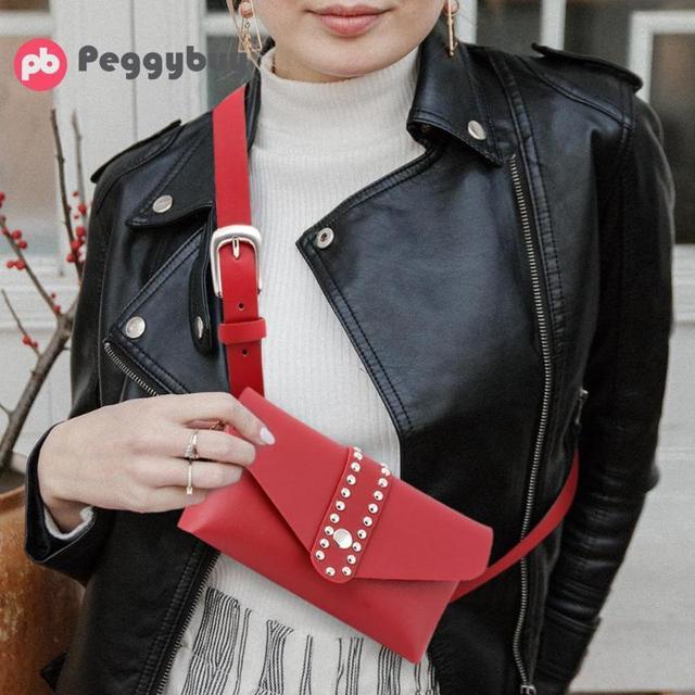 Moda Cor Sólida Rebites Pacote de Cintura Designer De Luxo Saco Da Cintura Fanny Packs de Cinto Pequeno Mulheres Bolsa de Telefone Saco da Correia Do Punk bolsa
