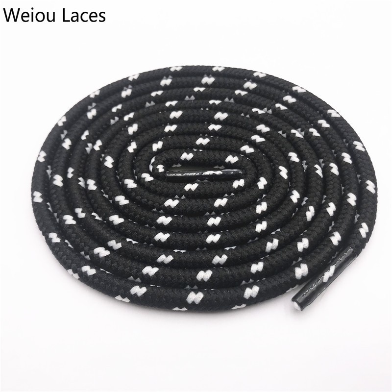 Weiou 0.45cm Round Striped Sports Lace Black White Bootlaces Thick Round With Dots Shoelaces Hiking For Dorky Dad Shoes Sneakers
