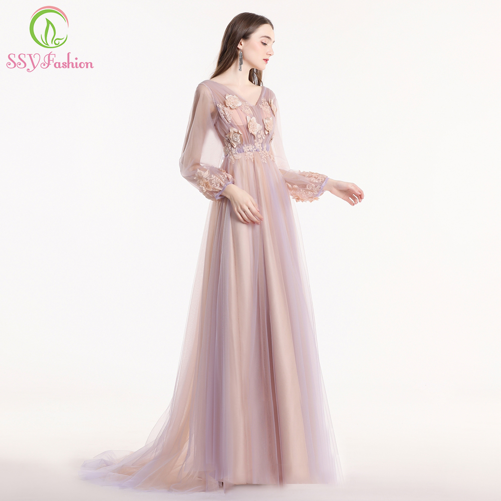 SSYFashion New Sweet Purple Pink Lace Flower   Prom     Dress   Long Sleeve V-neck Sweep Train Party Formal Gown Robe De Soiree Custom