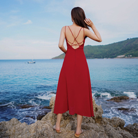 chiffon dress summer women's backless holiday beach dresses female fit and flare dress for girls