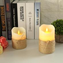 Battery Powered Electronic Flameless LED Candle Hemp Rope With Remote Control Timing Decoration