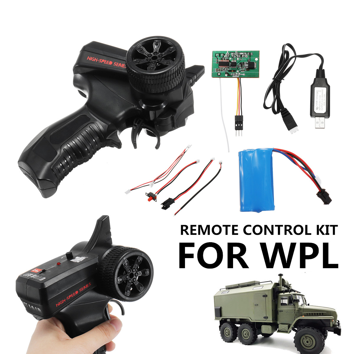 Power/Motor/LED Light/Switch Line Upgrade Remote Control Kit For WPL Full Scale RC Crawler Car Truck Toys Part AccessoriesPower/Motor/LED Light/Switch Line Upgrade Remote Control Kit For WPL Full Scale RC Crawler Car Truck Toys Part Accessories