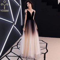YOSIMI 2019 Evening Party Dress Summer Deep V neck Sleeveless Sexy Dresses Women Elegant Maxi Long Noble Slim Mesh A line Female