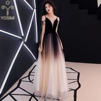 YOSIMI 2019 Evening Party Dress Summer Deep V neck Sleeveless Sexy Dresses Women Elegant Maxi Long Noble Slim Mesh A line Female
