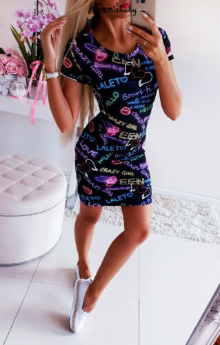2019 Women Letter Print Heart O Neck Slim Blue Bandage Bodycon Short Sleeve Evening Party Club 2019 Women Letter Print Heart O-Neck Slim Blue Bandage Bodycon Short Sleeve Evening Party Club Wear Short Mini Casual Dress