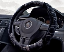 Winter Steering Wheel Cover Short Plush Fur Steering-Wheel Covers Black Grey Protective Warm Car-Styling donyummyjo creative cute cartoon car steering wheel cover winter plush back cat women girls wheel covers car styling decorations