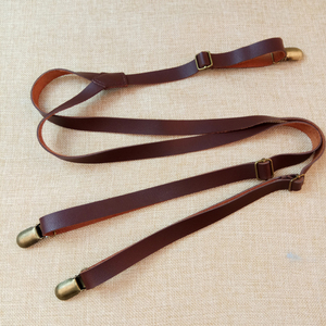 Solid Braces 1.5cm Width Mens/women Pu Synthetic Leather Suspenders Y Back 3 Clips