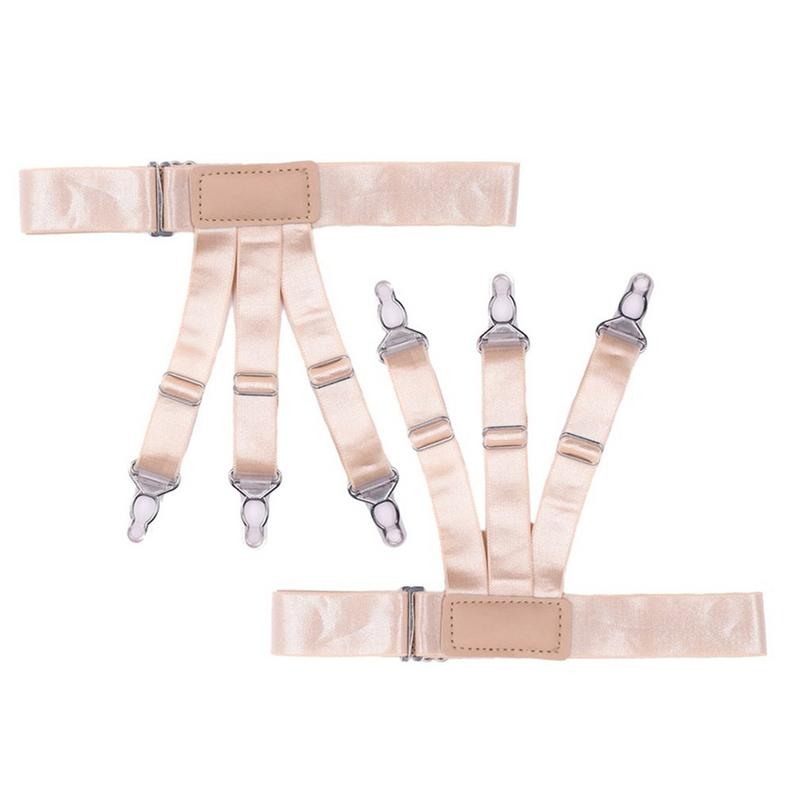 Mens Y-Style Shirt Braces Stay Suspenders Adjustable Non-Slip Locking Clamps