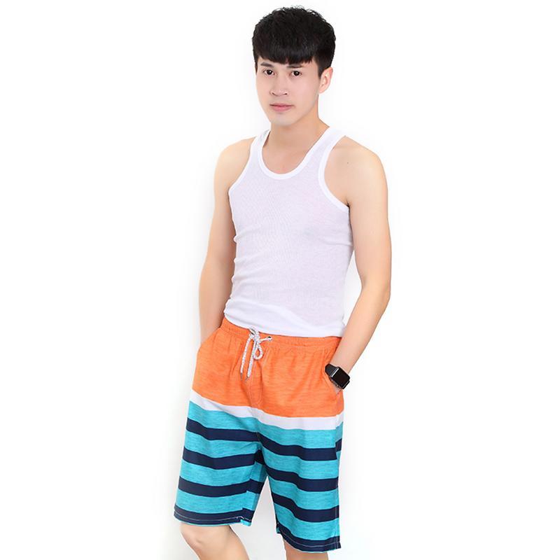 Hot Summer Men Printed Striped Surfing Beach Shorts Quick Dry Swimwear Swimsuit Swim Trunks Beachwear Sports Shorts