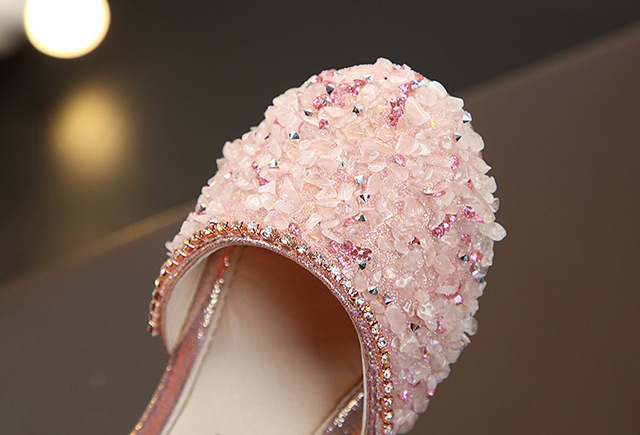POSH DREAM Summer New Rhinestone Pink Children Girls Shoes for Party Soft Bottom Girl Princess Shoes Spring Girl Flats Shoes