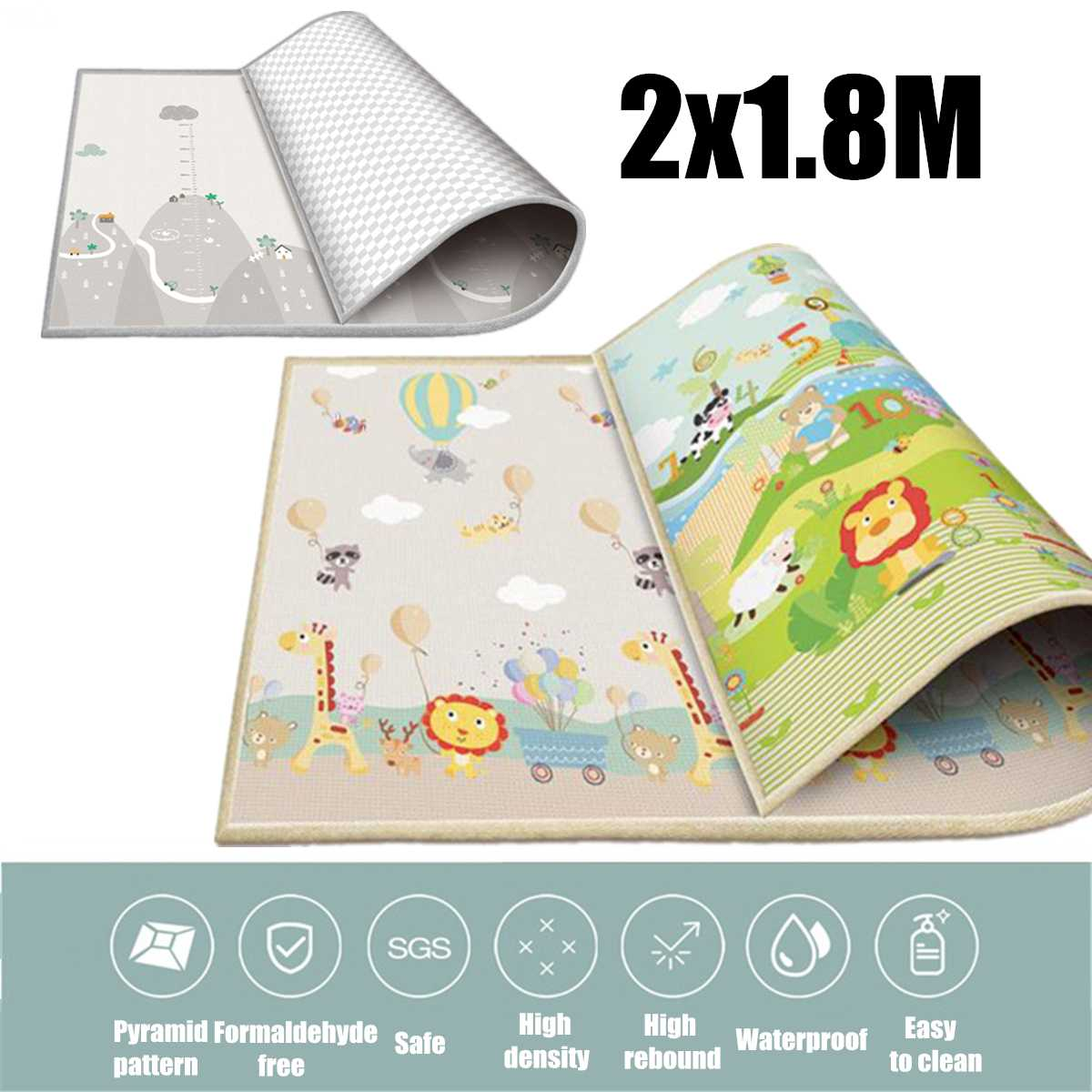 200x180cm LDPE Baby Crawling Playmats Thicken Play Mat Game Rug Children Carpet Floorcover Mat Double Sided