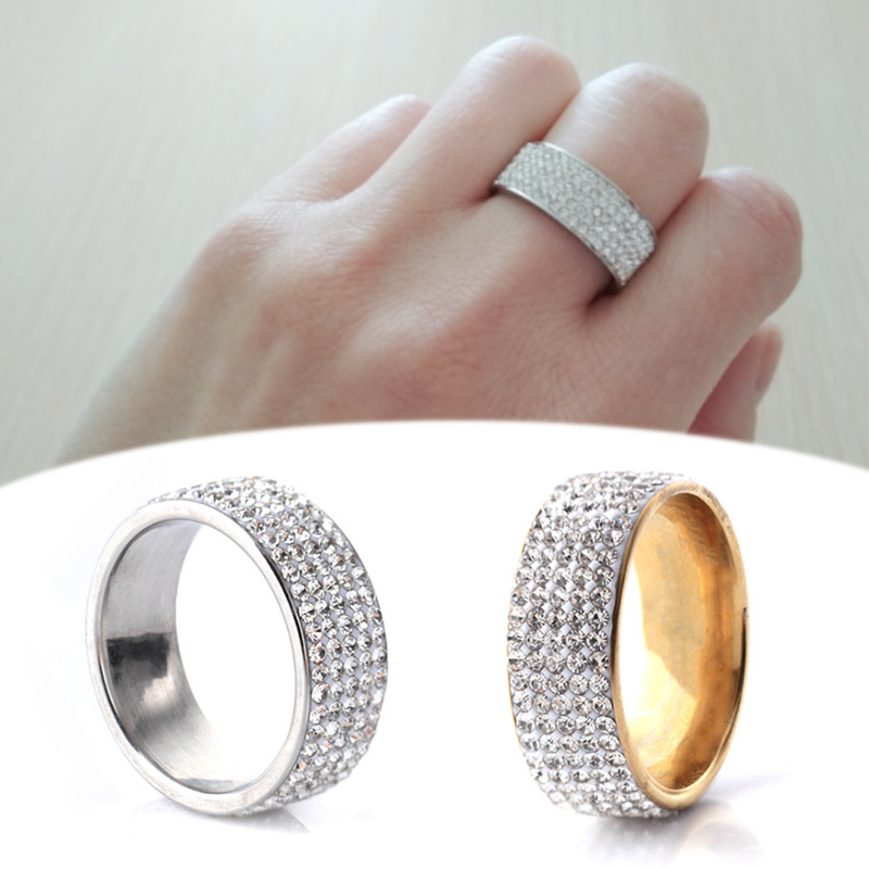 New Arrival High Quality Golden Unique Allergy Free Silvery 5 Row Lines Clear Crystal 1PC Rhinestone Stainless Steel Ring