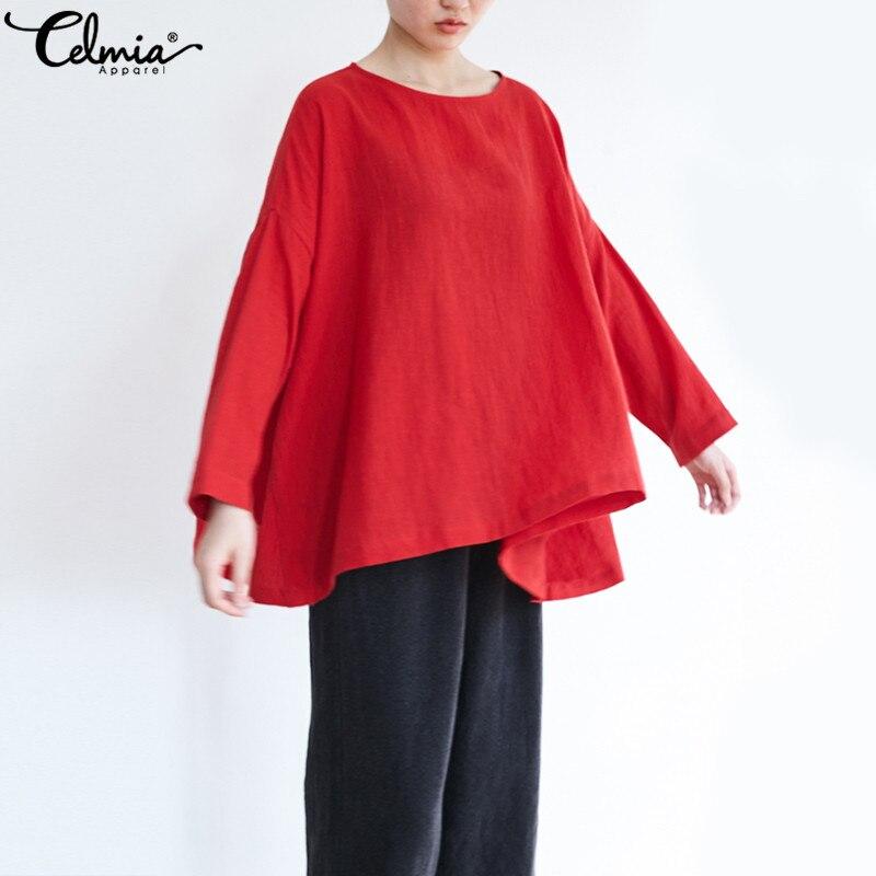 2019 Celmia Plus Size Women Vintage Linen Tops Autumn Ladies Clothes Long Sleeve Asymmetric Shirts Oversized Casual Loose Blouse
