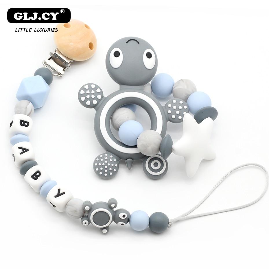 Baby Schnuller Clip Personalisierte Name Schildkröte Silikon Baby Rasseln Zahnen Schnuller Spielzeug Dummy Clips Halter