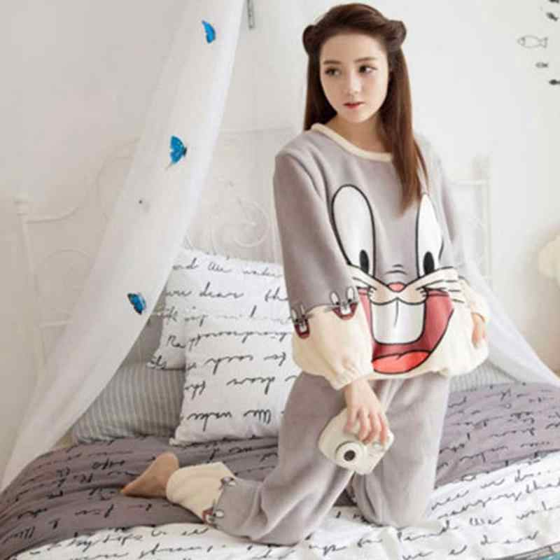 151c1949c1 ... 2018 New And Warm Pajamas Suits Women s 2PCS Home Sweet Cute Cartoon Coral  Velvet Autumn And ...