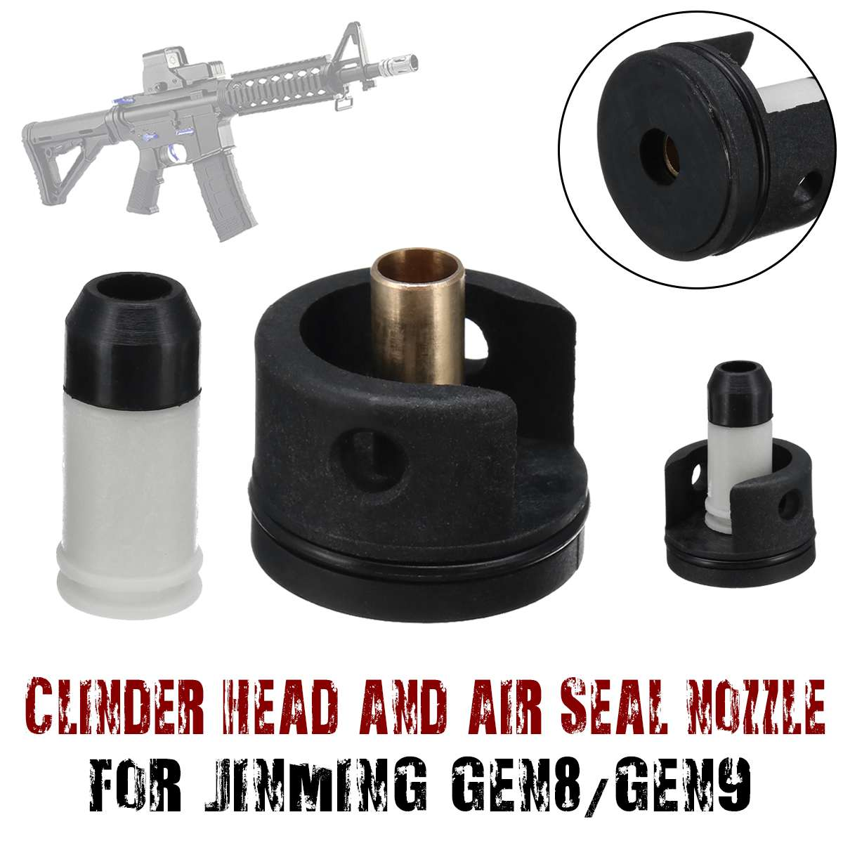 Upgrade Cylinder Head With Nylon Pump Nozzle For Jinming Gen 8 Gen 9 M4A1 Gel Ball Blasting Gearbox Accessories Kit