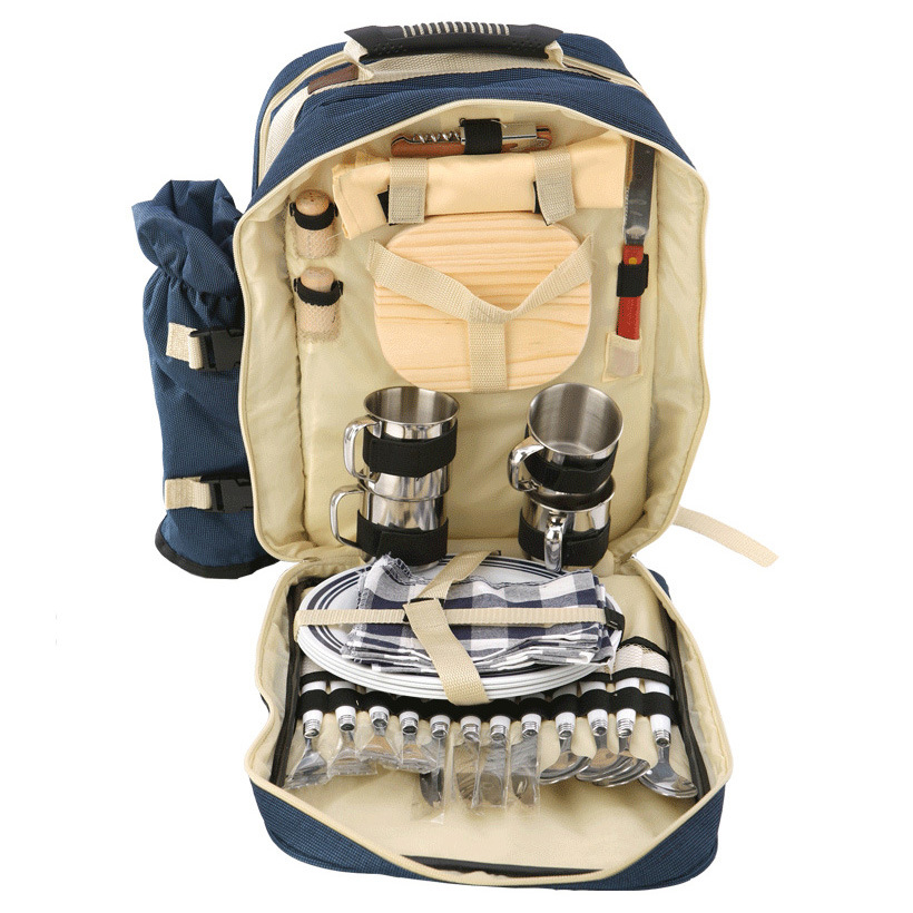 Outdoor multifunction insulation refrigerated backpag Portable multi person picnic bag double shoulder with tableware dinner set