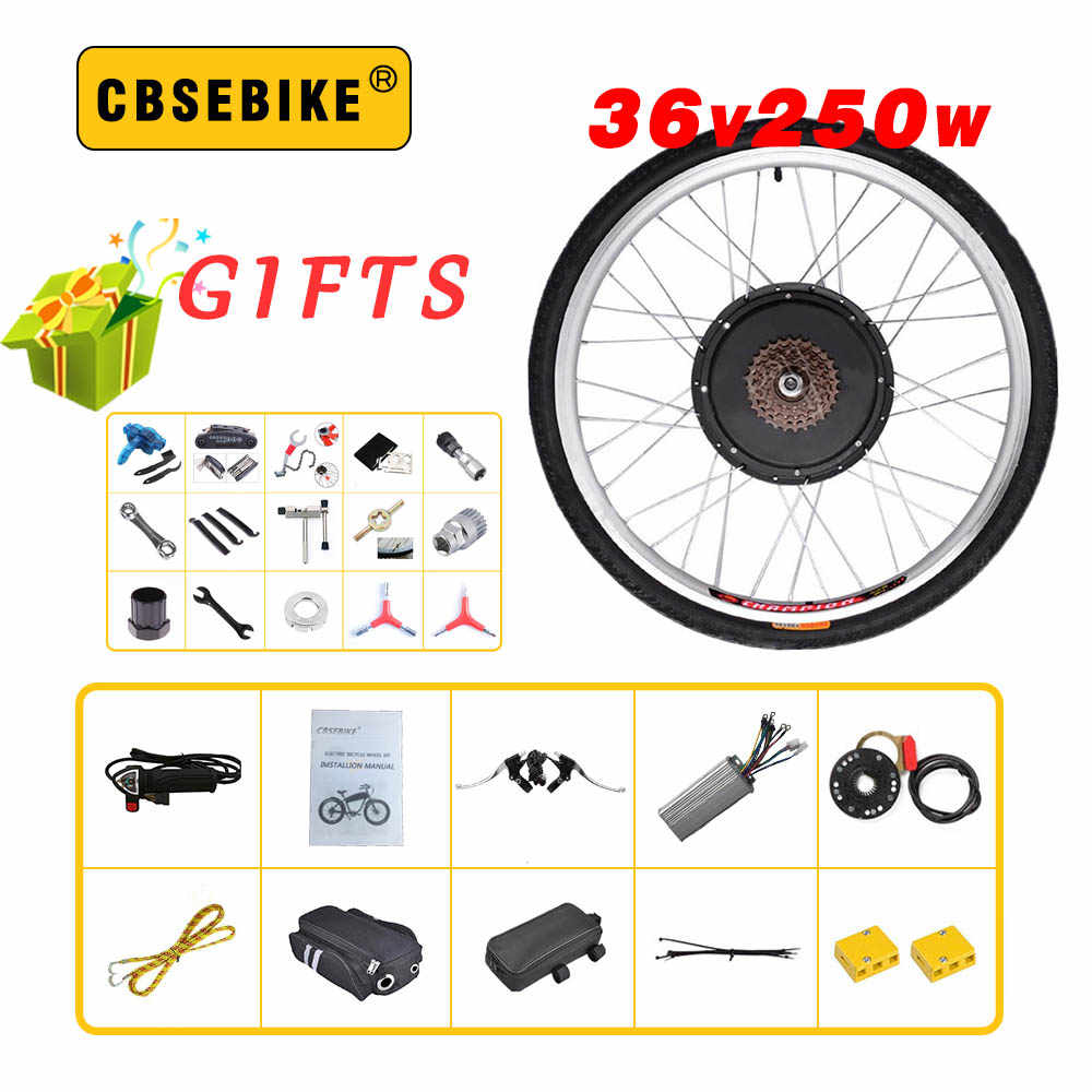 "CBSEBIKE high speed Conversion Kit 36V 250W 20"" 24"" 26"" 28"" 29 inch 700c EBike Electric Bicycle rear Motor Wheel Kits"