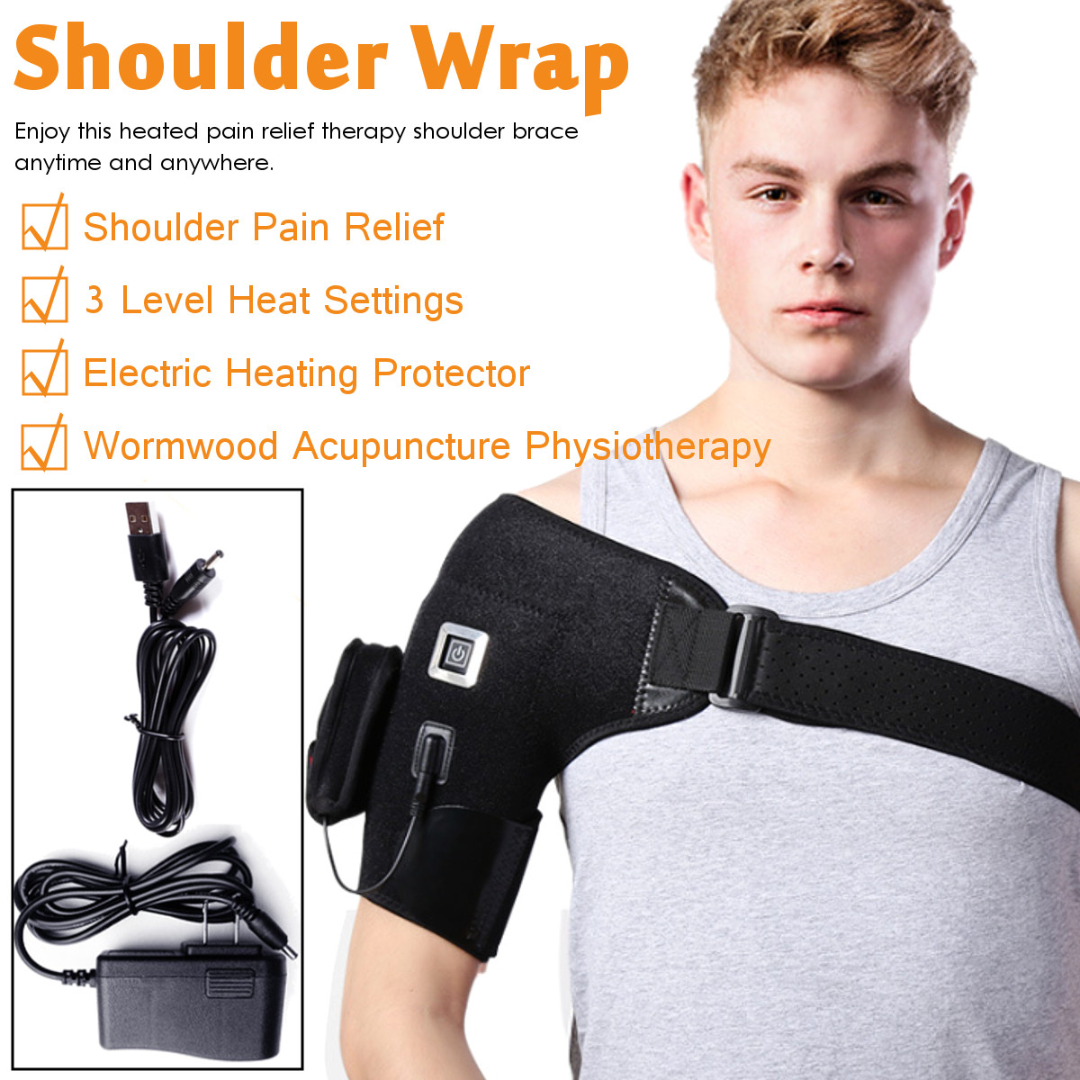 Electric Heat Therapy Adjustable Shoulder Brace Back Support Belt ...