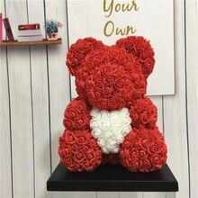 Горячая 40см25см медведь розы, искусственные цветы дома Свадьба фестиваль DIY дешевые украшение для свадьбы подарок коробка венок ремесла