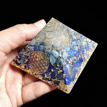 AURAREIKI 9cm Orgonite Pyramid Vishuddha Chakra Zadkiel Lapis Blue Natural Crystal Resin Decorative Craft Jewelry C0144
