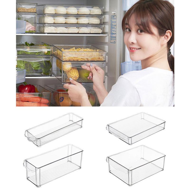 AUGKUN 1PC Kitchen Refrigerator Storage Box Slide Plastic Freezer Fridges Space Saver Holder Food Container Organizer Rack Shelf