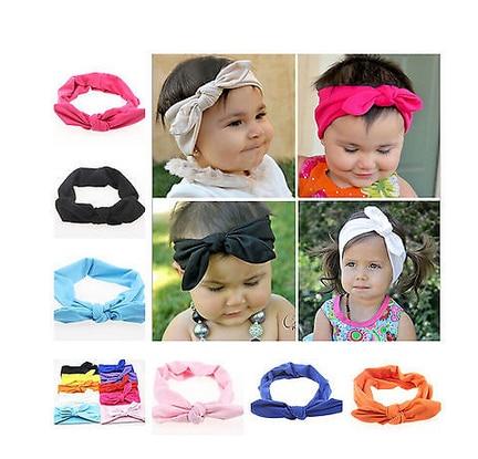 2018 Cute Baby Girls Kids Diy Rabbit Ear Turban Knot Headband Hair Band Head Wrap Solid Color