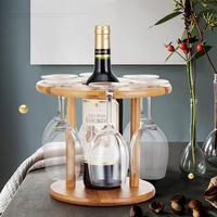 Bamboo Solid Wood 6 Hole Wine Rack Decoration Goblet Upside Down Wine Rack Without Wine Glass