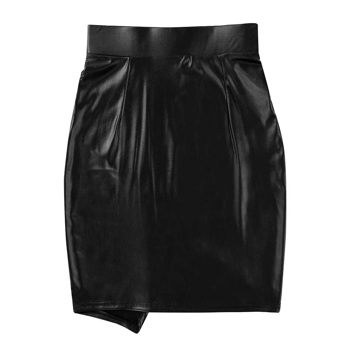 Fashion Club Evening Parties Skirts for Womens Wet Look Faux Leather High Waist Asymmetric Side Slit Bodycon Pencil Skirt
