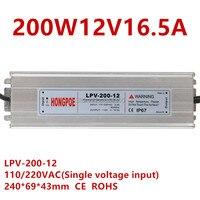 200W 12V 24V lighting Transformers LED Driver Power Adapter For LED Strip light IP67 AC DC LED Driver 12V 16.5A,24V8.3A