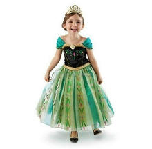 New Little Girls Princess Green Anna Fancy Dress Costume Cosplay Halloween Christmas Purim Holiday Party up