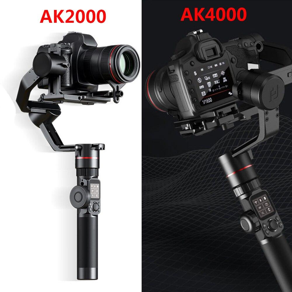 FeiyuTech AK2000 AK4000 3-eje estabilizador de cámara Handhel cardán para Sony Canon 5D Panasonic GH5 Nikon 2,8 kg 4 KG de carga útil del teléfono