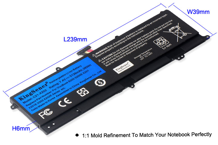 Image 4 - KingSener C21 X202 Laptop Battery for ASUS VivoBook S200 S200E X201 X201E X202 X202E S200E CT209H S200E CT182H S200E CT1 5136mAh-in Laptop Batteries from Computer & Office