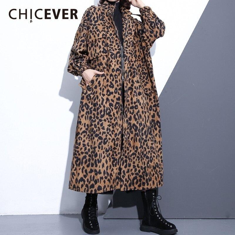 CHICEVER Leopard Women s Windbreaker Stand Collar Long Sleeve Zipper Loose Oversize Long Trench Female Coat