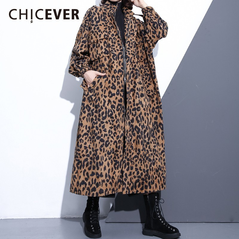 CHICEVER Leopard Women's Windbreaker Stand Collar Long Sleeve Zipper Loose Oversize Long Trench Female Coat Fashion Clothing New