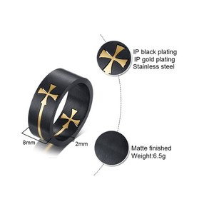 Image 5 - Removable Cross Rings for Men 8MM Stainless Steel Matte Finished Prayer Male anel Gifts