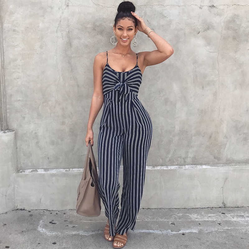 c7e1bb81ee78 Women Striped Jumpsuit Elegant Wide Leg Long Pants Strappy Overall  Sleeveless Jumper Suit Outfit Celebrity Baggy