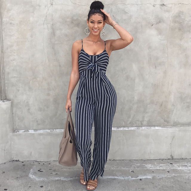 350e4043e470 Women Striped Jumpsuit Elegant Wide Leg Long Pants Strappy Overall  Sleeveless Jumper Suit Outfit Celebrity Baggy Romper Female