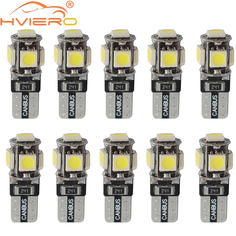 10X T10 Canbus White Blue Red 5smd Car Light W5w 194 168 Error Bulbs DC 12V