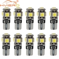 10X T10 Canbus White Blue Red 5smd Car Light W5w 194 168 Error Bulbs DC 12V Wedge Lamp Parking Bulb Band Decoder Sign Trun Light