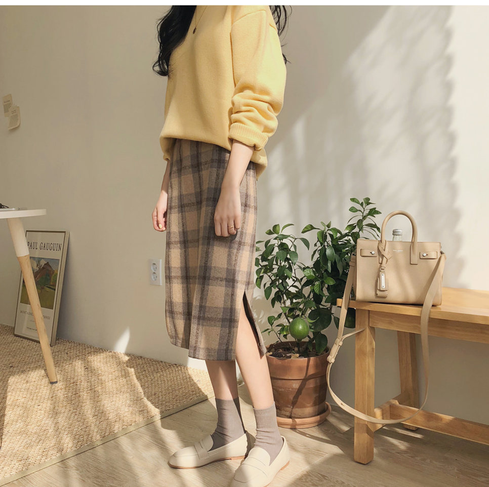 Vintage Plaid Women Skirts Autumn Plus Size Pencil Long Girls Skirt Female Vintage Warm Thick Skirts Winter Femme Faldas Muje
