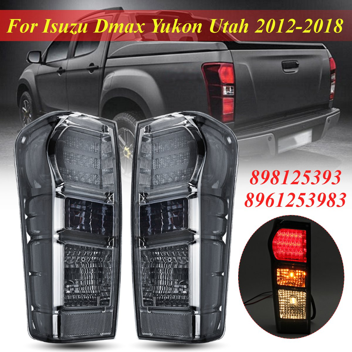 1 Pair Rear Tail Light Brake Lamp Tail Light Lamp With Wire harness For Isuzu Dmax Yukon Utah 2012 2013 2014 2015 2016 2017 2018