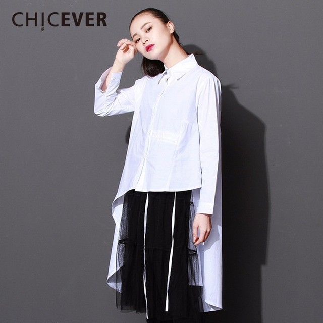 0037281db0f CHICEVER 2018 Spring Asymmetrical Dress Female Long Sleeve Loose Big Size  Black Lace Up Women Dresses Clothes Fashion Casual New