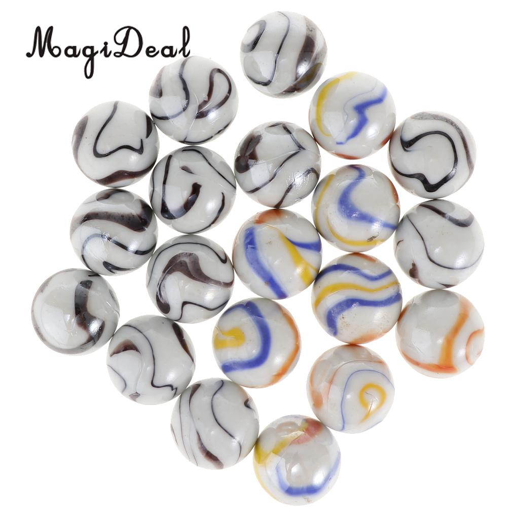 20Pcs 25mm Milky White Glass Marbles, Kids Marble Run Game Accessory, Vase Filler, Home Decor