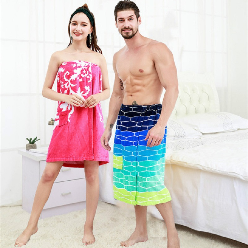 2221f20c90 Men Bath Towel for Adult Terry Women Cotton Swimming Skirt Wearable Wrap  Chest Sauna Beach Spa Bathrobes Serviette de Bain