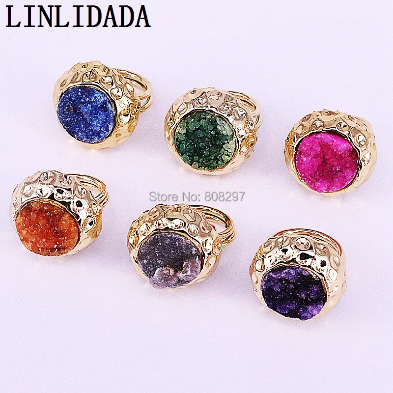 5pcs Shape Nature Quartz Drusy Stone Metal Ring