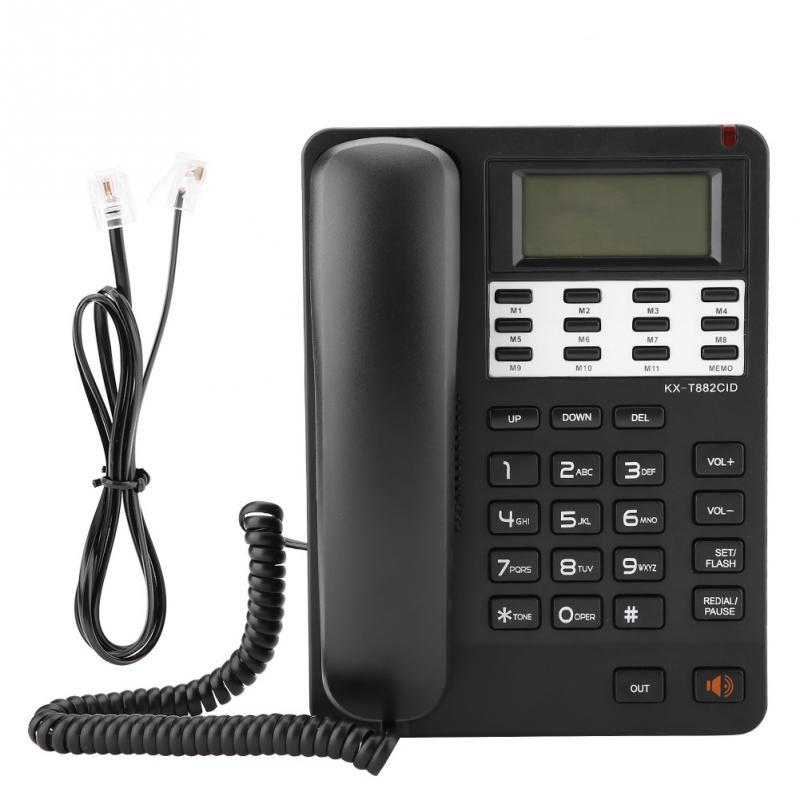 Negro Vbestlife Tel/éfono Fijo con Cable DTMF//FSK Dual de Identificaci/ón de Llamadas Pantalla LCD para Oficina//Hogar//Hotel
