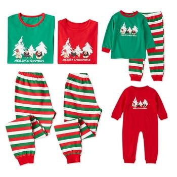 New 2018 Christmas Pajamas PJs Sets Xmas Family Clothes Set Sleepwear Nightwear Striped Pants Suit Kids Adult Pajamas Set CA498 Family Matching Outfits