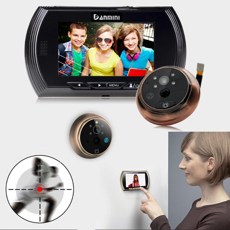 4,3 дюймов ЖК-дисплей Экран обнаружения движения дверной глазок Камера фото видео глазок двери Камера Ночное видение
