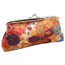 Fashion Embroidered Ladies Long Wallet Coin Purse Flower Pattern Clasp Closure Pouch For Women